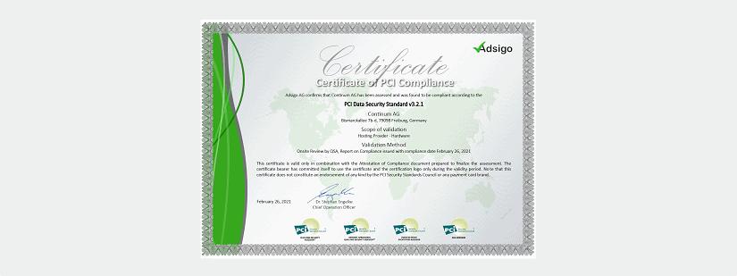 Auch für das kommende Jahr hat die Continum AG aus Freiburg im Breisgau wieder das begehrte PCI-DSS Zertifikat erhalten.