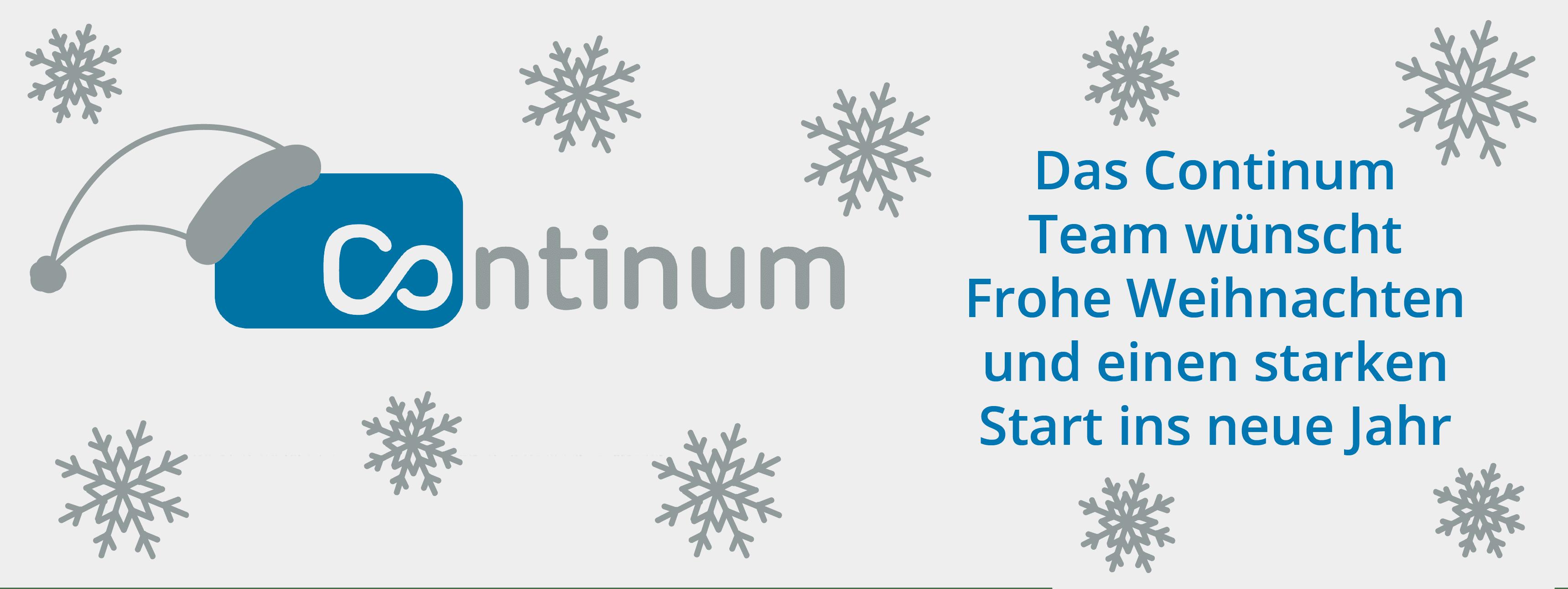 Die Continum AG aus Freiburg wünscht allen Kunden, Partnern und Freunden Frohe Weihnachten und einen gesunden und starken Start ins neue Jahr.