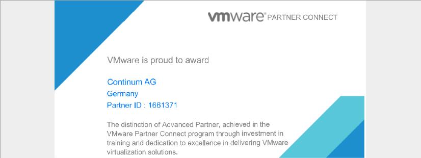 Die Continum AG, der Cloud-Anbieter aus Freiburg i.Br., ist offzieller VMware Advanced Partner.