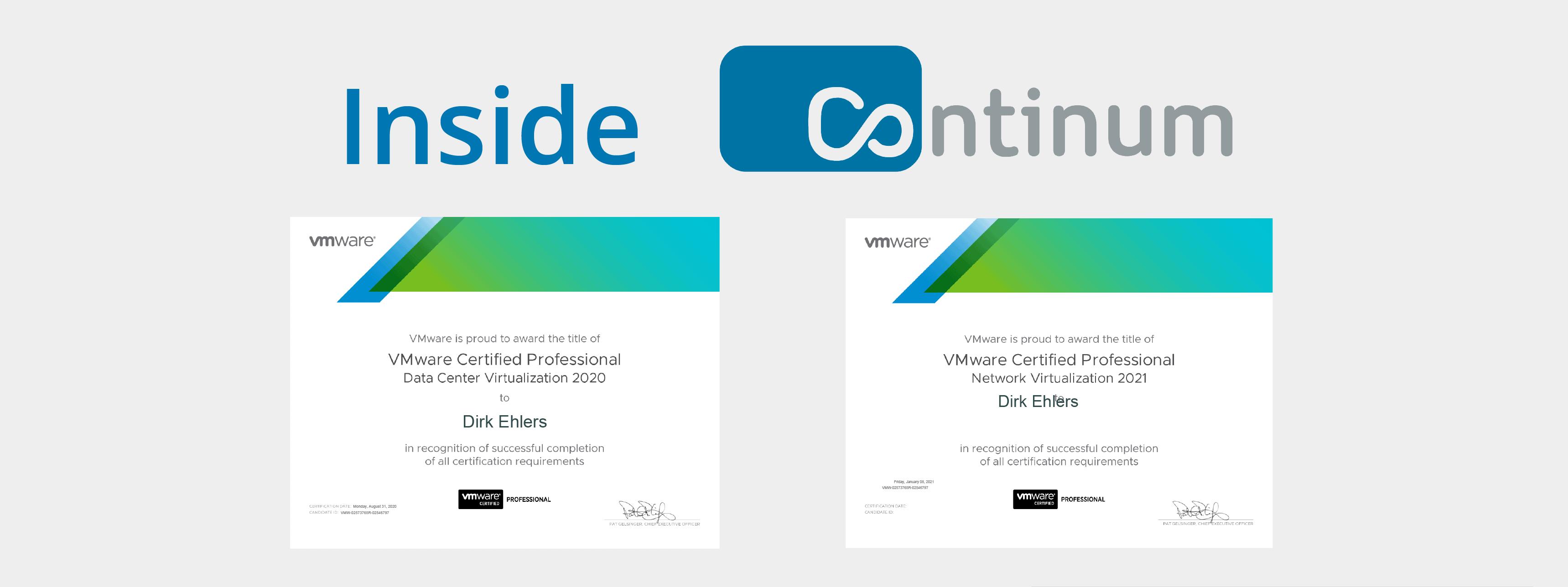 Continum Mitarbeiter-Zertifizierungen VMware VCP-NV 2021 und VCP-DCV 2020 von Dirk Ehlers.