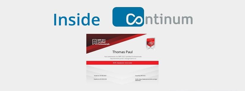 Continum Mitarbeiter Thomas Paul wurde zum RIPE Database Associate zertifiziert.